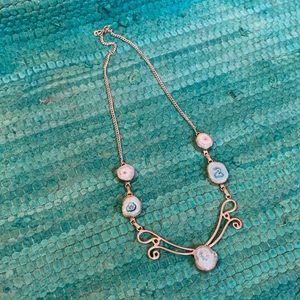 Blue druzy agate necklace 925 SS